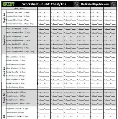 team beachbody efficient body beast worksheets