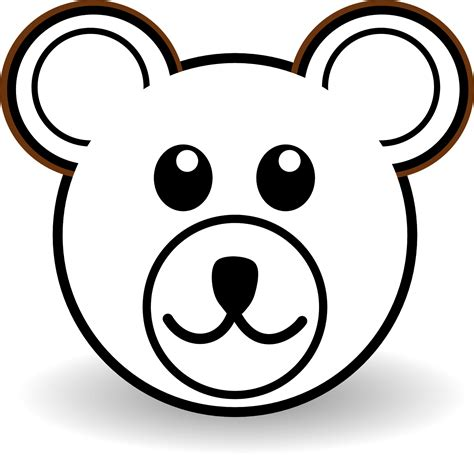 coloring page of a bear head early play templates simple teddy bears to colour stitch