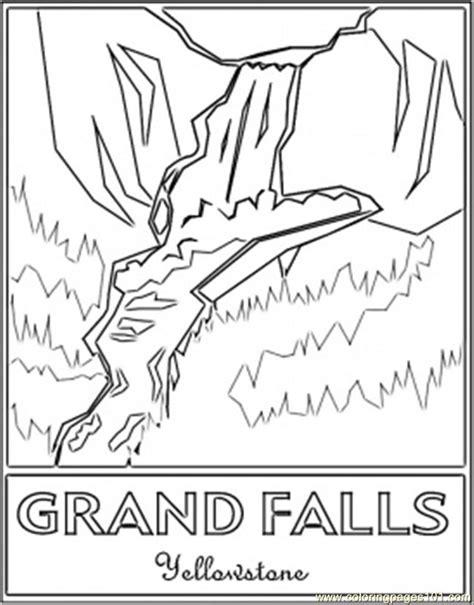 coloring page of niagara falls grand falls yellowstones coloring page free waterfall