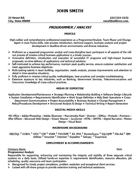 Program Analyst Resume by Program Analyst Resume Template Premium Resume Sles