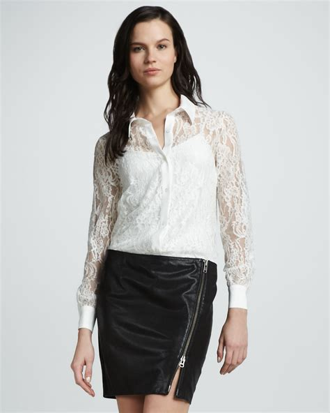 White Lace Button Blouse by Blouse Images Usseek