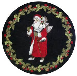 Round vintage santa rug by bethany lowe traditions