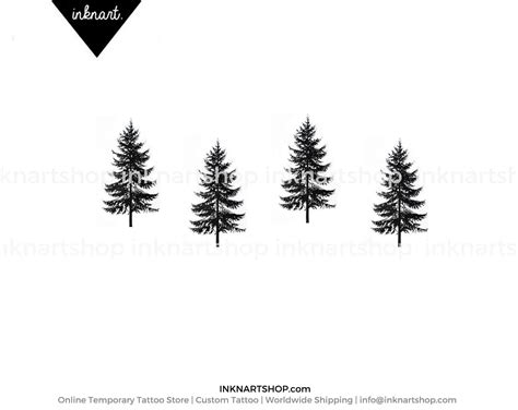 4pcs tiny pine tree tattoo christmas gift small inknart