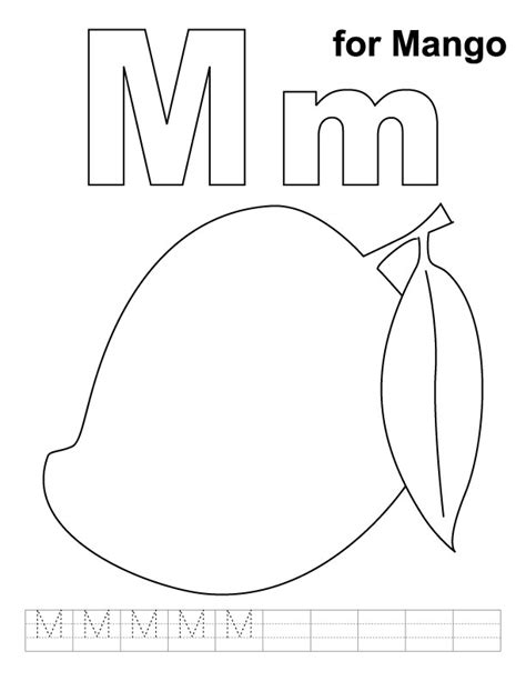 mango coloring pages preschool m for mango coloring page with handwriting practice