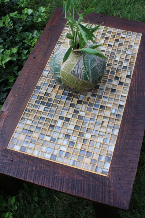 Diy Tile Coffee Table Coffee Table Tile Mosaic Reclaimed Wood Rustic Contemporary Brown Wax Finish Tables