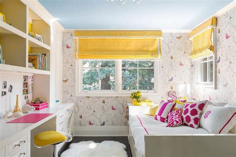 yellow and pink bedroom ideas timorous beasties butterflies wallpaper contemporary