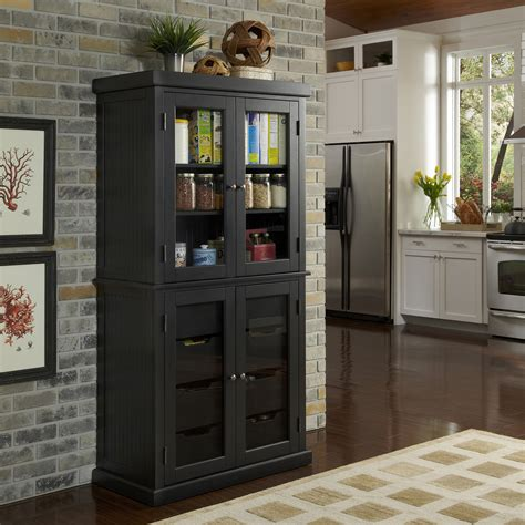 home styles distressed black nantucket china pantry home