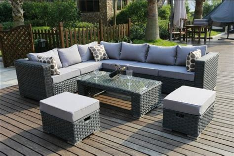 Grey Patio Furniture Conservatory Modular 8 Seater Rattan Corner Sofa Set Garden Furniture Grey Ebay
