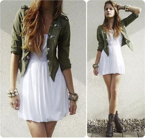 white dress jacket and combat boots