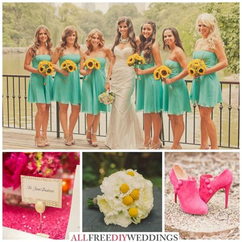 wedding color schemes aqua yellow  hot pink
