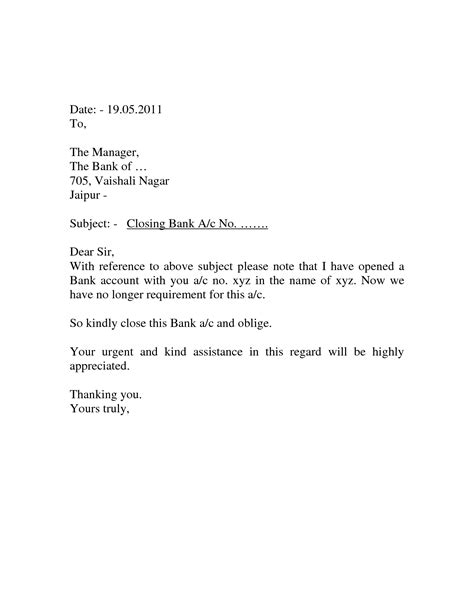 closing account bank letter format business letter to bank account cover letter templates