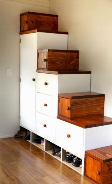 storage stairs   tiny house named lucy