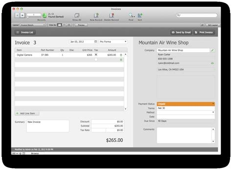 Filemaker Pro Invoice Template Invoice Template Ideas Filemaker Pro Templates
