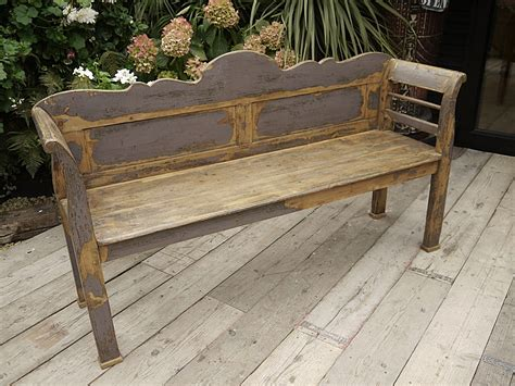 fantastic victorian antique pine painted old paint shabby chic bench settle
