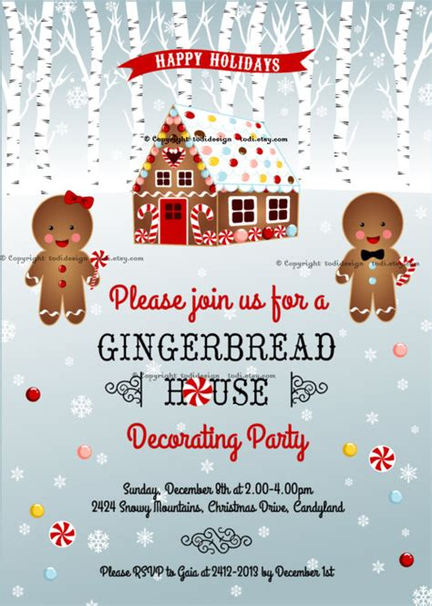 printable gingerbread house invitations 20 gingerbread house decorating party invitations