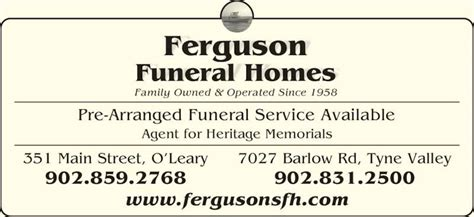 ferguson funeral homes limited 351 st o leary pe