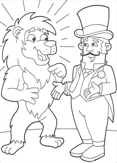 circus lion coloring pages lion and circus director coloring pages hellokids com
