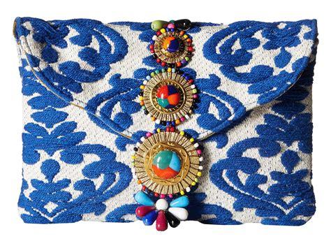 steve madden steven by zada beaded tapestry clutch in blue lyst
