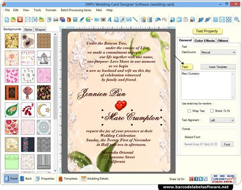 Wedding Card Maker Software designs printable wedding