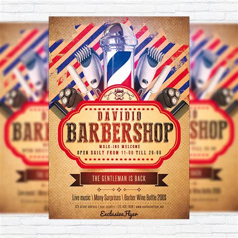 barber shop template barbershop premium flyer template cover