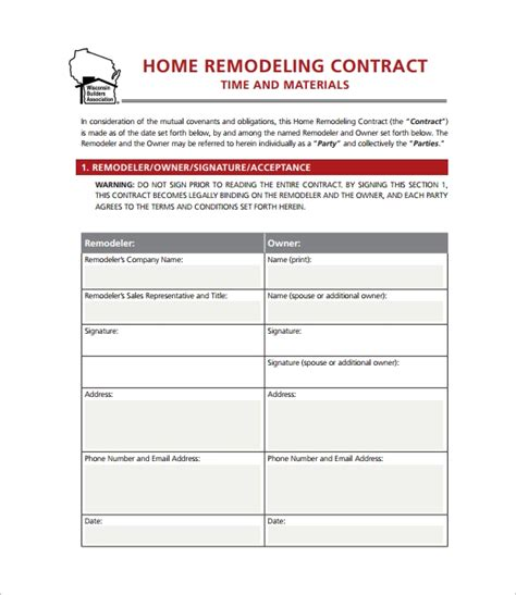 11 Home Remodeling Contract Templates To Download For Free Sle Templates Free Renovation Contract Template