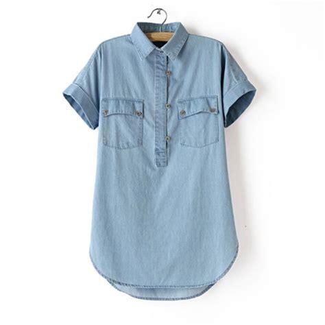 Sy0nzgb02 Big Size Blouse Dress Denim Size S M Size L blue fashion denim shirt sleeve casual