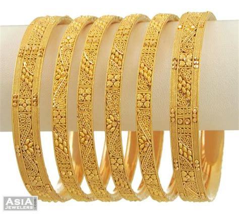 Bangles India Size L 9 22k gold bangles 2 side ones only ajba53561 22k gold