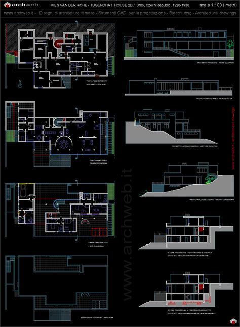 Split Level House Plan by Tugendhat House Autocad Dwg
