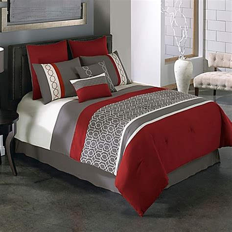 bed bath and beyond bedroom furniture covington 8 piece comforter set in red grey bed bath