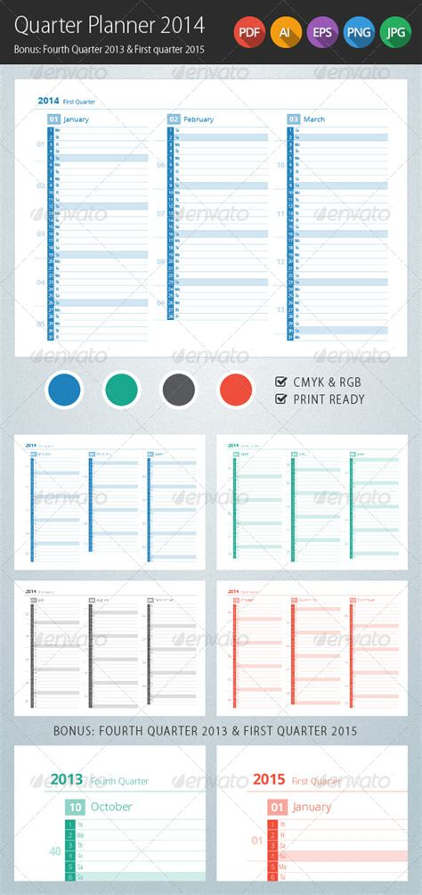 printable calendar 4th quarter 2015 quarter planner 2014 calendar graphicriver