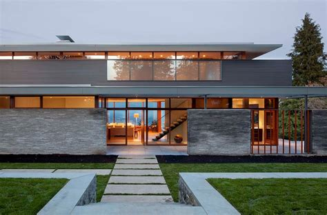 Chic Modern House Designs trend Portland Modern Exterior Decorating ideas with concrete pavers
