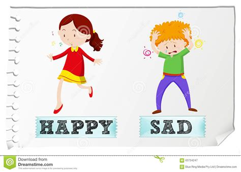 imagenes en ingles happy opposite adjectives happy and sad stock vector image