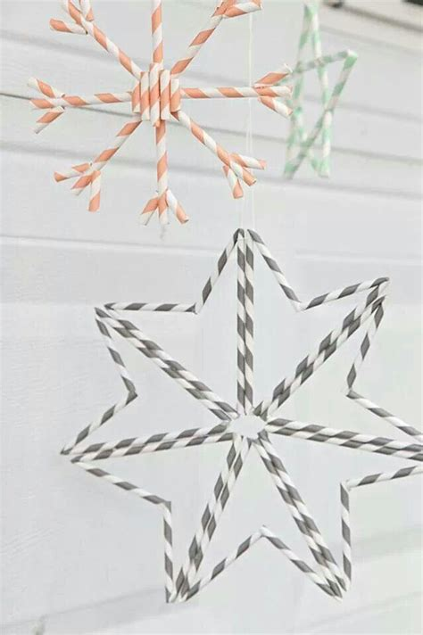 Paper Straw Crafts - paper straw snowflakes crafts