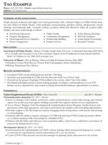 Community Health Sle Resume by Resume Sles Types Of Resume Formats Exles And Templates