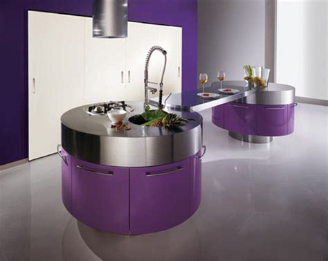 Kitchen Ls Images Ultra Modern Purple Kitchen With Cylindrical Fan Above