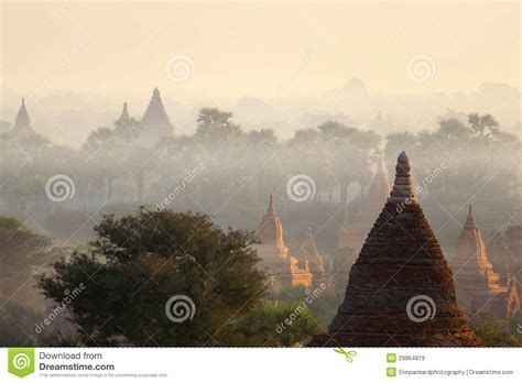 dramatic colors bagan temples in mist at sunrise royalty free stock images
