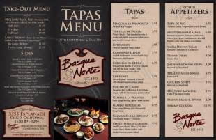 tapas menu template basque norte tapas menu carta restaurante