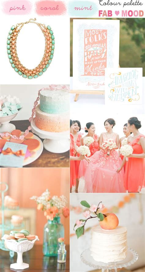 Coral mint wedding colors, coral pink mint wedding palette