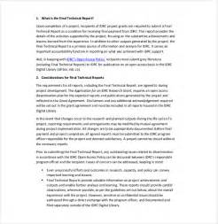 Technical Report Template by Technical Report Template 8 Free Word Pdf Documents