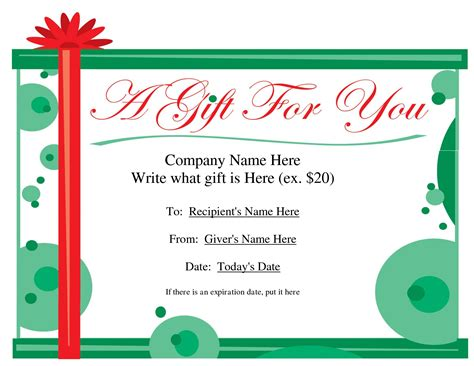 present card template best photos of printable voucher templates