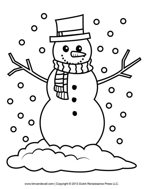 Free Snowman Clipart Template Printable Coloring Pages Printable Snowman Coloring Pages