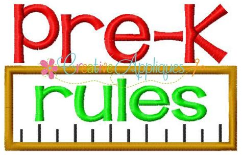 pre k pre k kindergarten rules applique