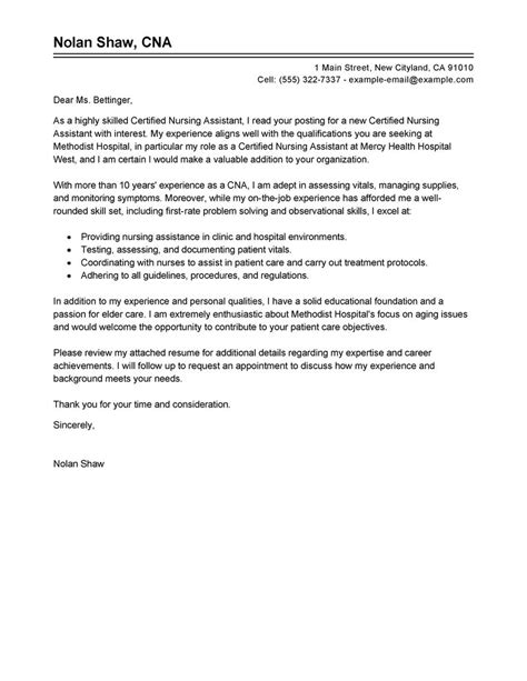 cover letter exle for nursing application leading professional nursing aide and assistant cover