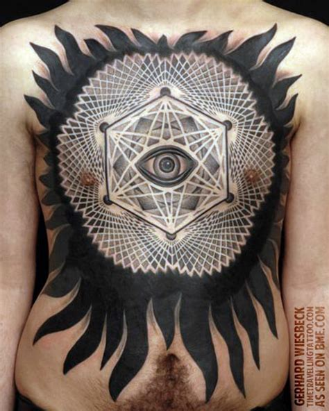 extreme tattoo münchen black ink dotwork tattoo on front body