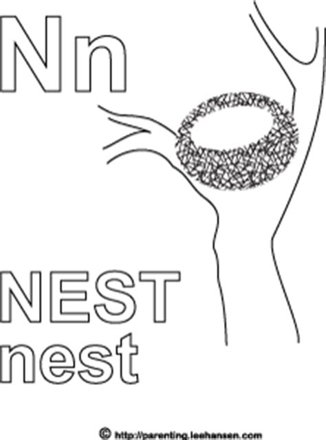 N For Nest Coloring Page by Free Coloring Pages Of Letter N Nest