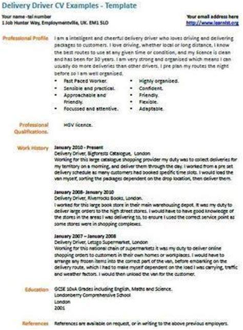 cv template van driver delivery driver cv exle uk job vacancies