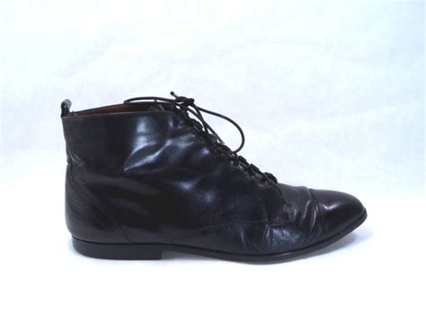 black leather lace up ankle flat boots unisa size 9