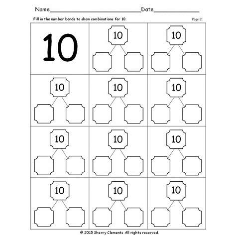 number bonds to 10 worksheets number bonds 1 10