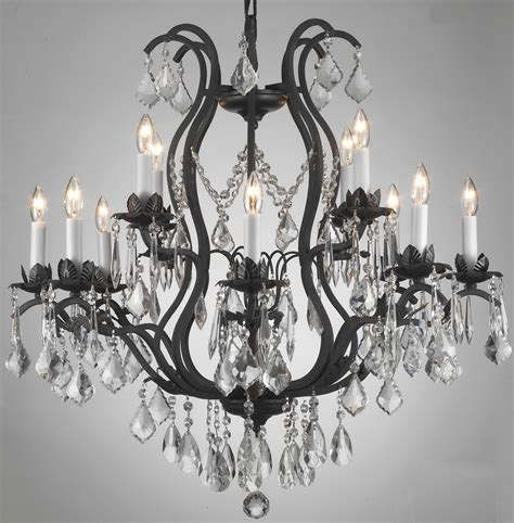 Black Wrought Iron Crystal Chandelier Home Design Ideas Black Iron Chandelier With Crystals