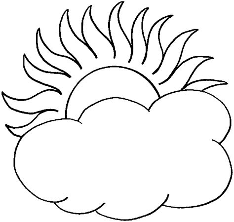 half sun coloring page coloring the sun with half is hidden by a cloud picture